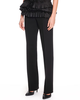 One-Shoulder Ruffle Bustier and Slim-Leg Crepe Trousers