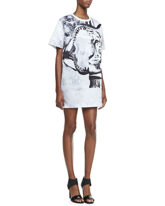 Tiger-Print T-Shirtdress, White/Black