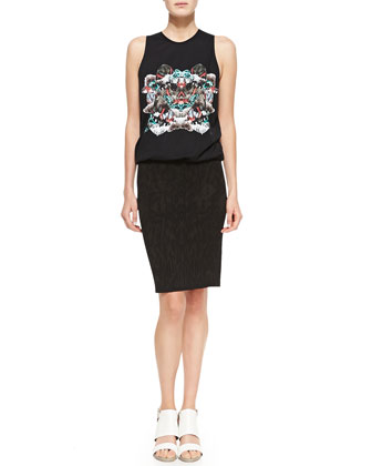 Mixed-Print Sleeveless T-Shirt Dress with Pencil Skirt