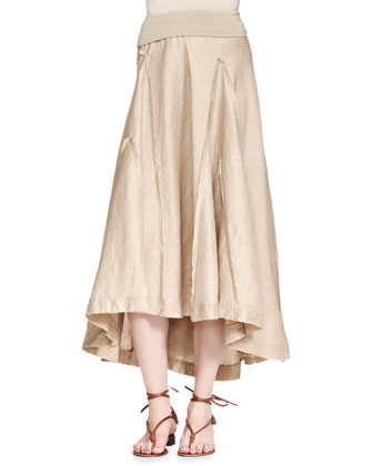 Fold-Over Linen-Blend A-Line Skirt, Tan