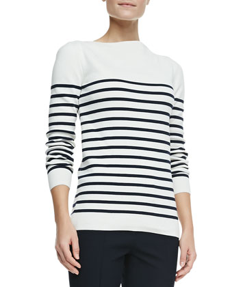 Long-Sleeve Striped Boat-Neck Top, White/Navy