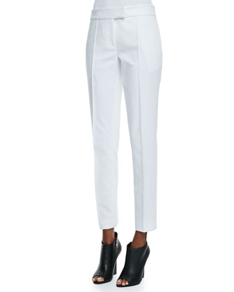 Textured Twill Straight-Leg Pants