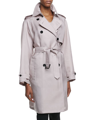 Gun-Flap Detail Three-Quarter Trench Coat