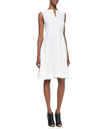 Sleeveless Crepe V-Neck Dress, White