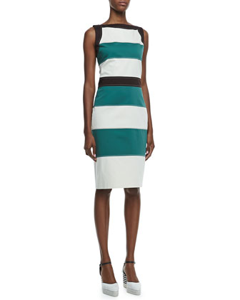 Sleeveless Horizontal-Stripe Shift Dress