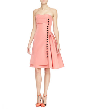 Strapless Taffeta Cocktail Dress with Button Front