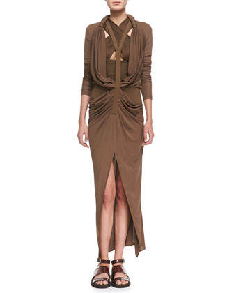 Long Y-Front Drape Dress and Pleated Crisscross Keyhole Top