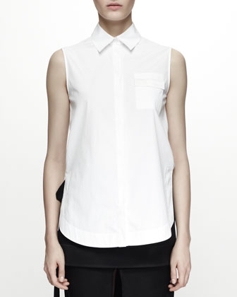 Sleeveless Poplin Shirt Top