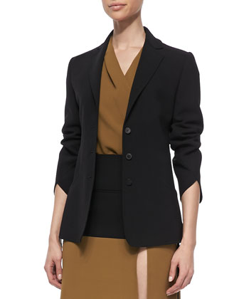 3/4-Sleeve Blazer, Black