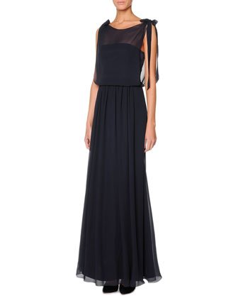 Sheer Silk Georgette Gown, Ardesia Slate