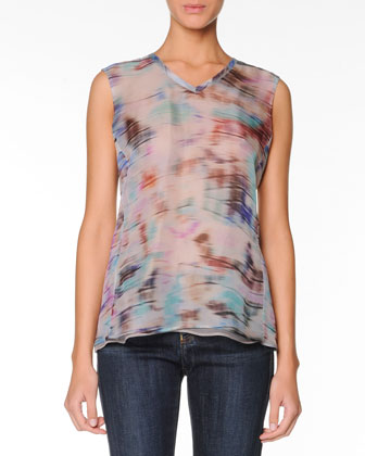 Paintbrush-Stroked Blouse, Multi