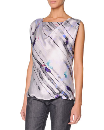 Sleeveless Watercolor Silk Satin Top