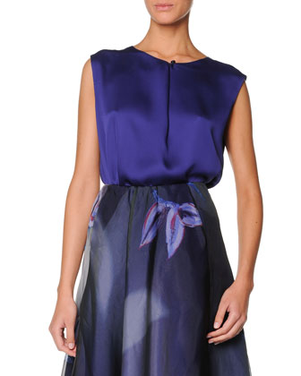 Sleeveless Buttoned Silk Satin Top, Cobalt