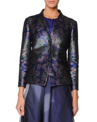 Collarless Floral Jacquard Jacket, Sleeveless Buttoned Silk Satin Top & Floral Silk Organza Skirt