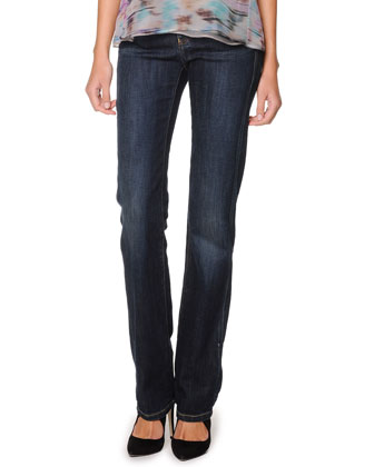 Straight-Leg Washed Denim Jeans