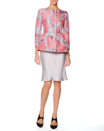 Floral Jacquard Fil Coupe Jacket & Bias-Cut Silk Satin Skirt