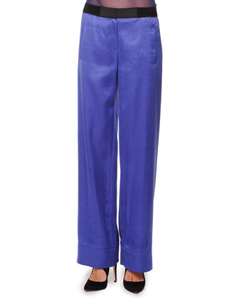 Wide-Leg Satin Pants, Cobalt