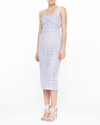 One-Shoulder Floral Lace Twisted Midi Dress, Pale Lavender
