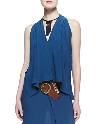 Sleeveless V-Neck Draped Blouse