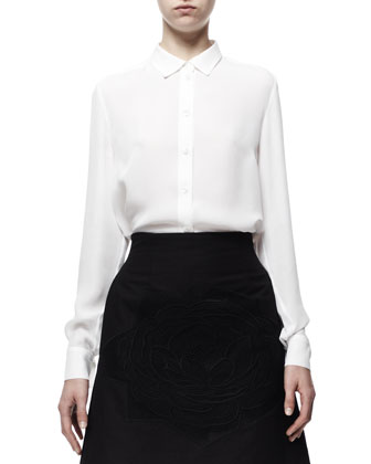 Farrah Cropped Tuxedo Jacket, Button-Front Wilson Silk Blouse & Rose-Applique Cotton Pique Skirt
