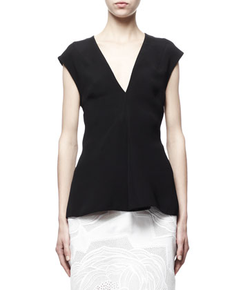 Cap-Sleeve Silk Top, Black