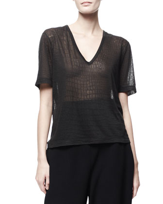 Croc-Embossed Sheer Jersey Tee, Black