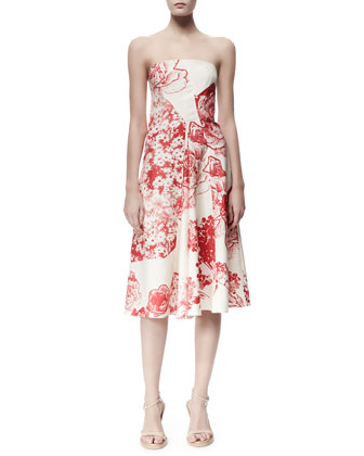 Fiona Panama Flower-Print Strapless Dress, Cream/Chili