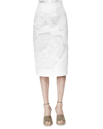Rose-Applique High-Waist Midi Skirt, White