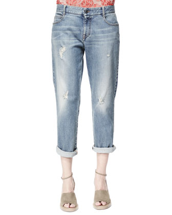 Tomboy Ripped Ankle Jeans, Pale Blue