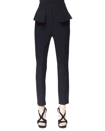 Pleated Peplum Cigarette Pants, Black/Red