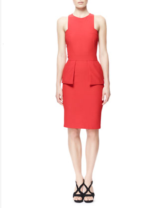 Leaf Crepe Halter Dress with Peplum, Red