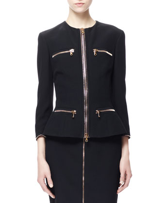 Four-Pocket Zip Jacket & Zip-Front Pencil Skirt