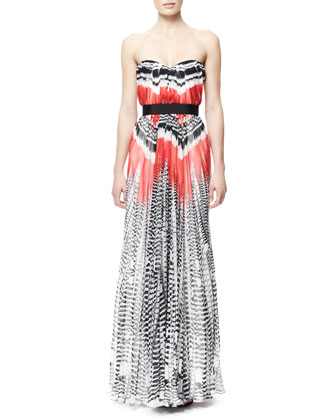 Feather-Print Strapless Chiffon Gown, Red/White/Black