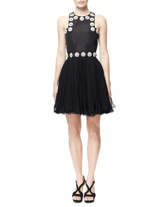 Plexi Flower-Embroidered Faille Dress, Black