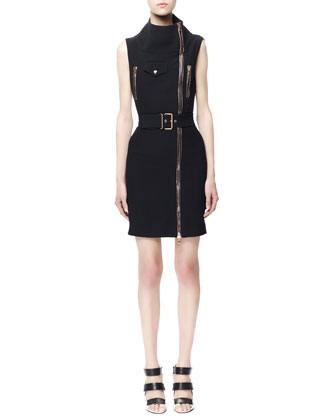 Sleeveless Biker Zip Dress, Black