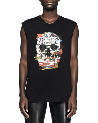 Printed Graffiti Skull Tank, Black