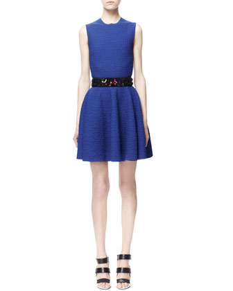 Crocodile-Embossed Jacquard Fit-and-Flare Dress, Blue