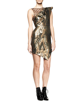 Extreme One-Shoulder Metallic Dress