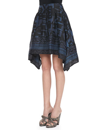 Printed Pointed Scarf Skirt, Old Indigo/Black