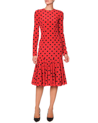 Long-Sleeve Polka Dot Flounce Dress, Red/Black