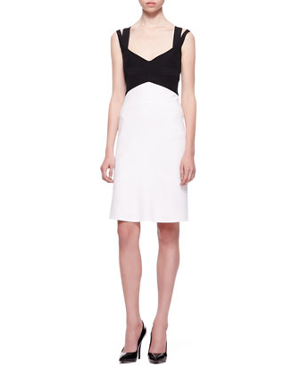 Double-Strap Colorblock Dress, Black/White