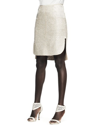 Tweed Patch-Pocket Pencil Skirt