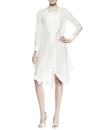 Long-Sleeve Ruffled Voile Shirtdress