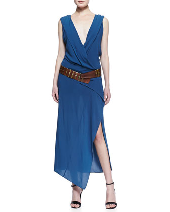 Long Sleeveless V-Neck Wrap Dress