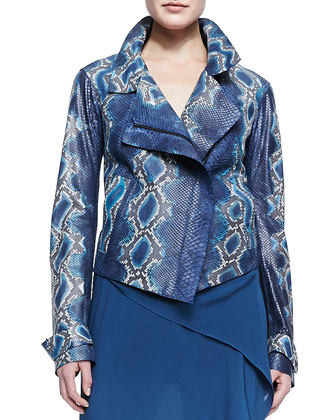 Hand-Painted Python Jacket, Sleeveless V-Neck Wrap Dress & Leather Belt