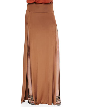 Asymmetric Zip Lambskin Leather Jacket, Sleeveless V-Neck Draped Blouse, Long Double-Slit Skirt ...