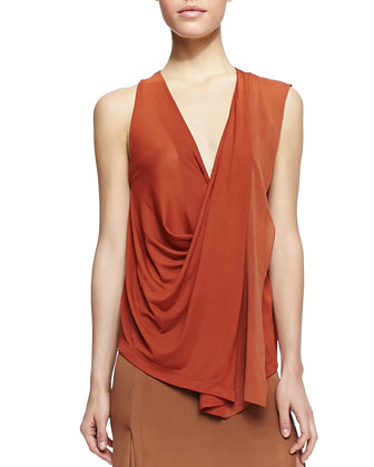 Sleeveless V-Neck Top with Drape