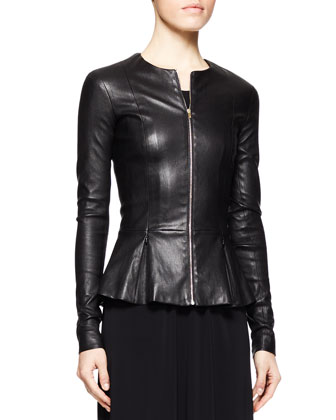 Anasta Leather Peplum Jacket and Long Draped Jersey Dress