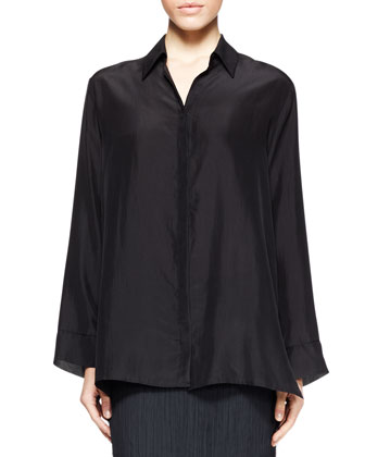 Corinne Boxy Pleat-Back Blouse