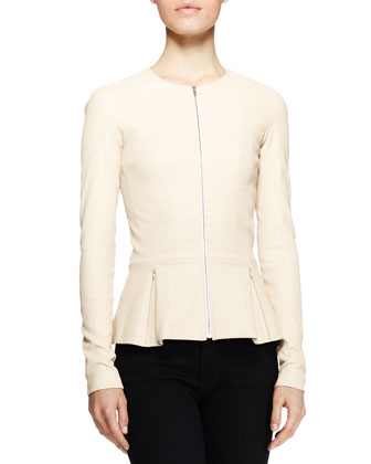 Anasta Leather Peplum Jacket, Cord